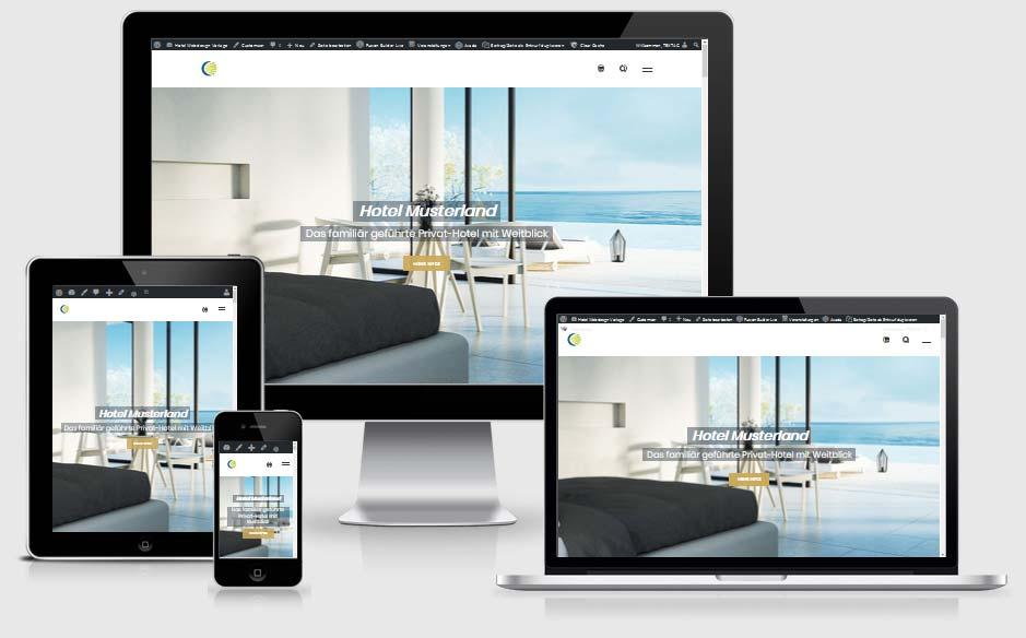 Webdesign Vorlage für Hotel, Ferienwohnungen und Ferienhäuser - Webdesign TEXTAG GROUP Putbus auf Rügen